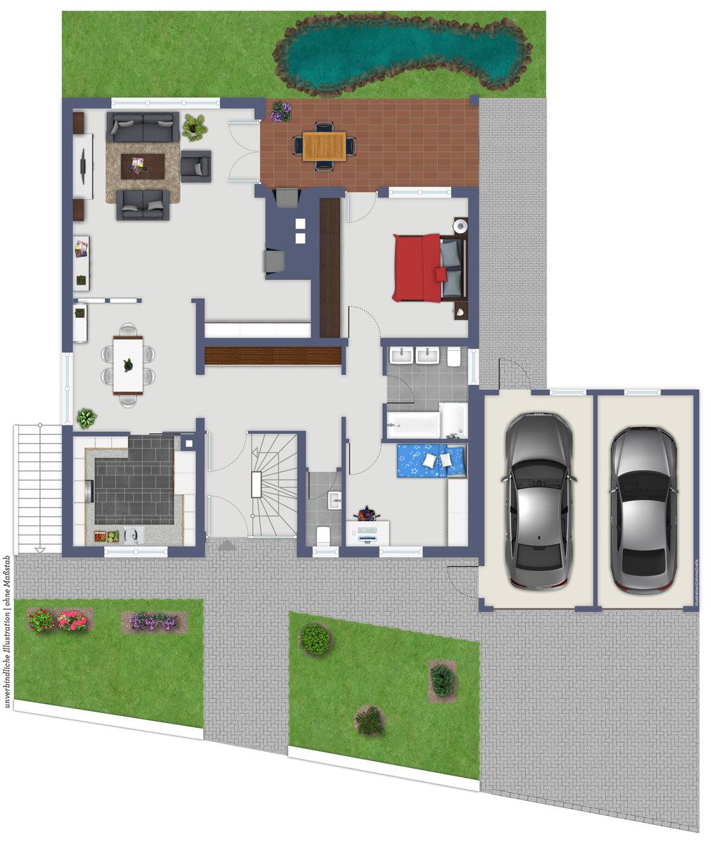 Einfamilienhaus Mit Fertigteilgarage Und Geräteschuppen In: Einfamilienhaus Mit Einliegerwohnung Und